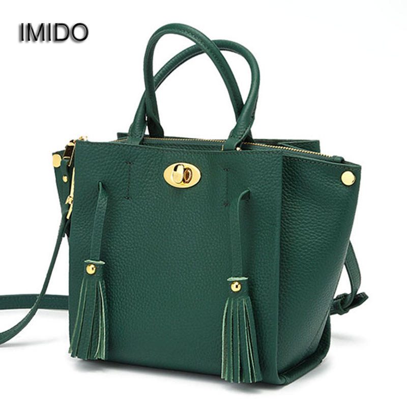 IMIDO Brand Designer Women Handbags Female Genuine Leather Shoulder Crossbody Bag High Quality Tote Bags bolsa feminina HDG111 women genuine leather handbag brown ladies shoulder bags high quallity female tote purses handbags designer brand bolsa feminina