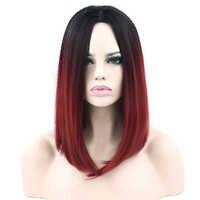 Soowee короткие синтетические волосы черные до бордовые Омбре волосы вечерние боб парик для черных женщин прямые волосы косплей парики