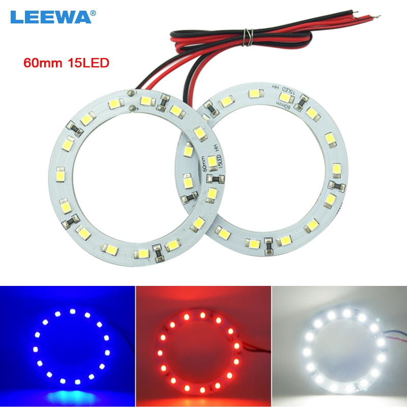 LEEWA 2pcs 60mm Car Angel Eyes 1210/3528 15SMD LED Headlight Halo Ring Angel Eye Lighting White Red Blue #CA2667 2pcs universal fit 6000k 60 cob led 60mm angel eye chip on board halo ring retrofit for ford chevrolet mazda vw free shipping