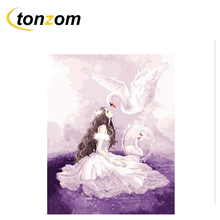RIHE Girl With Swan Diy Painting By Numbers Beauty Oil Painting Cuadros Decoracion Acrylic Paint On Canvas Modern Wall Art