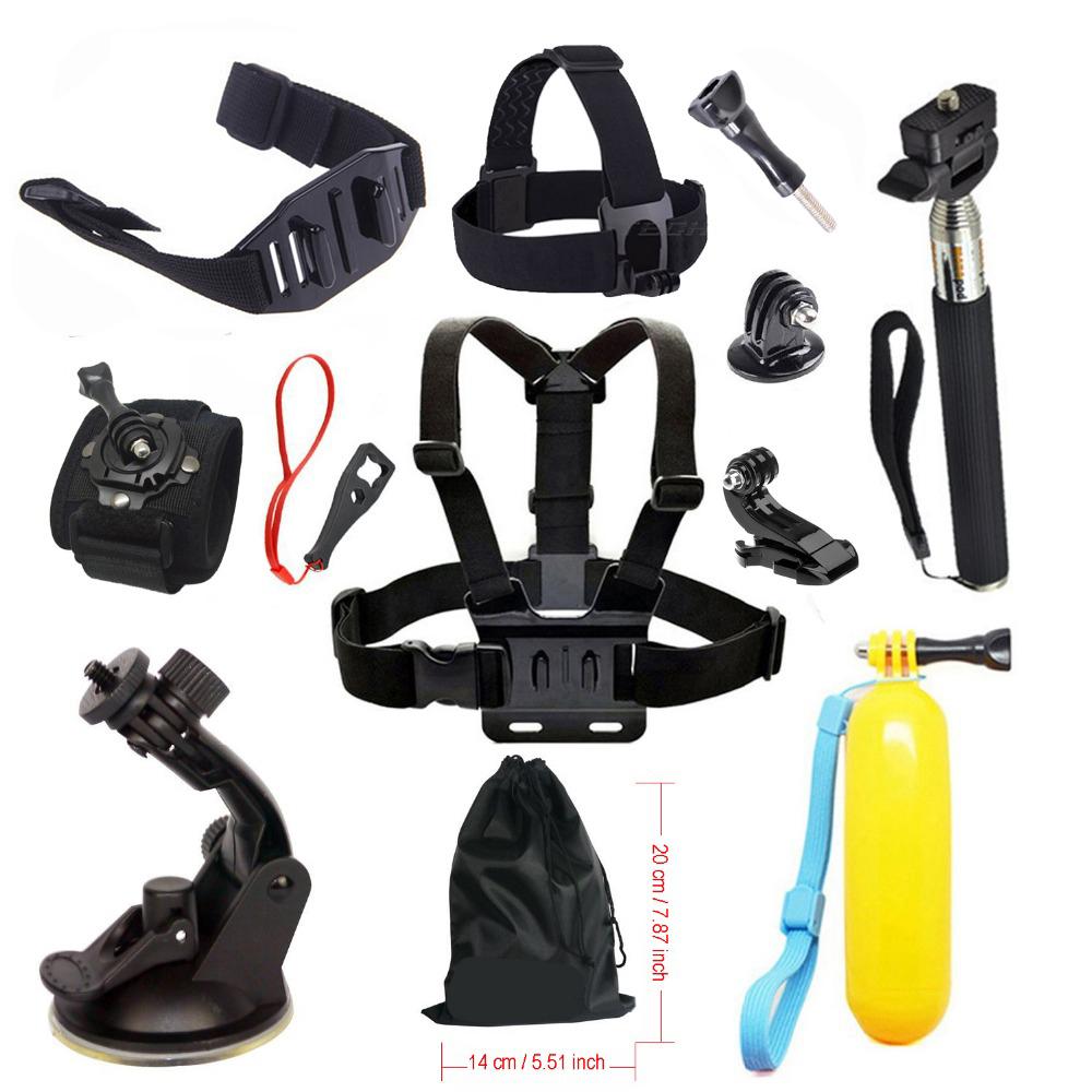 Prix pour Kit Pour Go Pro accessoires pour Gopro Hero 5 4 SJCAM SJ4000 Poitrine Montage en Tête Courroie De Casque De Voiture montage Flottant Selfie bâton 28