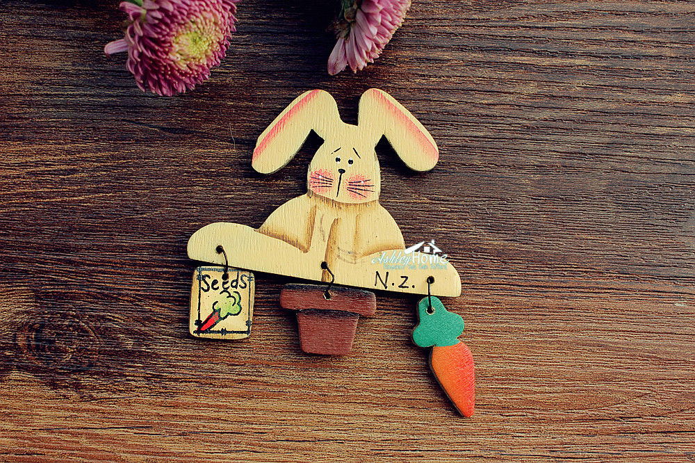 little white rabbit, <font><b>New</b></font> <font><b>Zealand</b></font> <font><b>Souvenir</b></font> Wooden <font><b>Fridge</b></font> <font><b>Magnet</b></font> Craft image