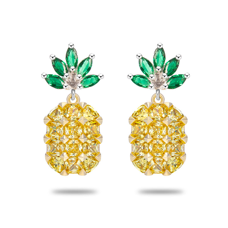 2017 Pineapple Yellow Big Gems crystal Silver Earrings female temperament sweet Women Charm Geometry High quality