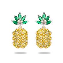 2017 Pineapple Yellow Big Gems crystal Silver Earrings female temperament sweet  Women Charm Geometry High quality Jewelry