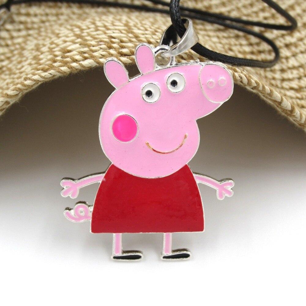 Girls Lovely Zinc Alloy Pink Peppa Charm Pendant Necklaces Ks