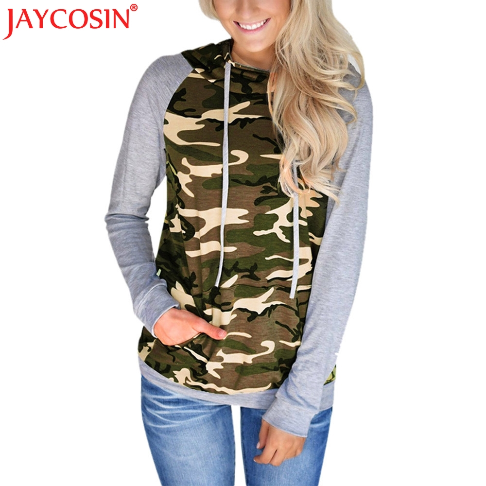 JAYCOSIN Hoodies & Sweatshirts Womens Camouflage Printing Pocket Hoodies Women Hooded Pullover Tops Sweatshirt Dec1 Free Shiping
