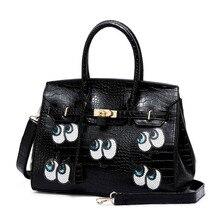 Korean new designer handbag small eyes Sequins package big shoulder Crocodile pattern PU bag fashion messenger bag