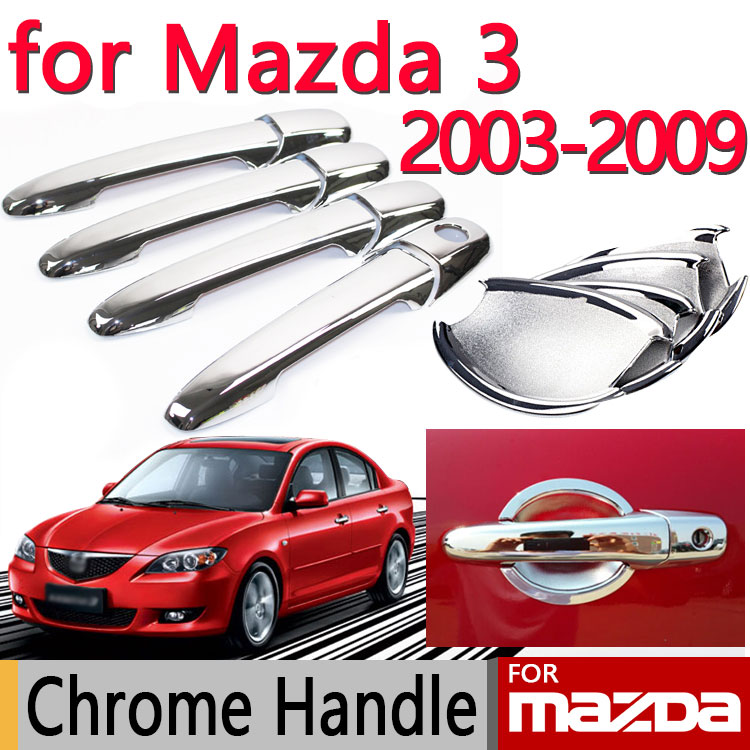 for Mazda 3 2003-2009 BK Accessories Chrome Door Handle Axela 2004 2005 2006 2007 2008 Sedan Hatchback Car Sticker Car Styling for suzuki swift 2004 2013 accessories chrome door handle covers 2005 2006 2007 2008 2009 2010 2011 2012 car styling stickers