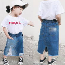 ANKRT 19 Summer New Girls Mid-long White-brushed Hole Jeans Skirt Childrens Irregular Open Half-length Skirt.12M-6T