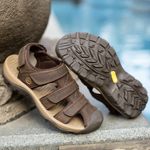 Hook & Loop Beach Sandals Casual Man Shoes Big Size 46 Summer Flats Suede Leather Zapatos Classic Hallow Plastic Water Sandalias