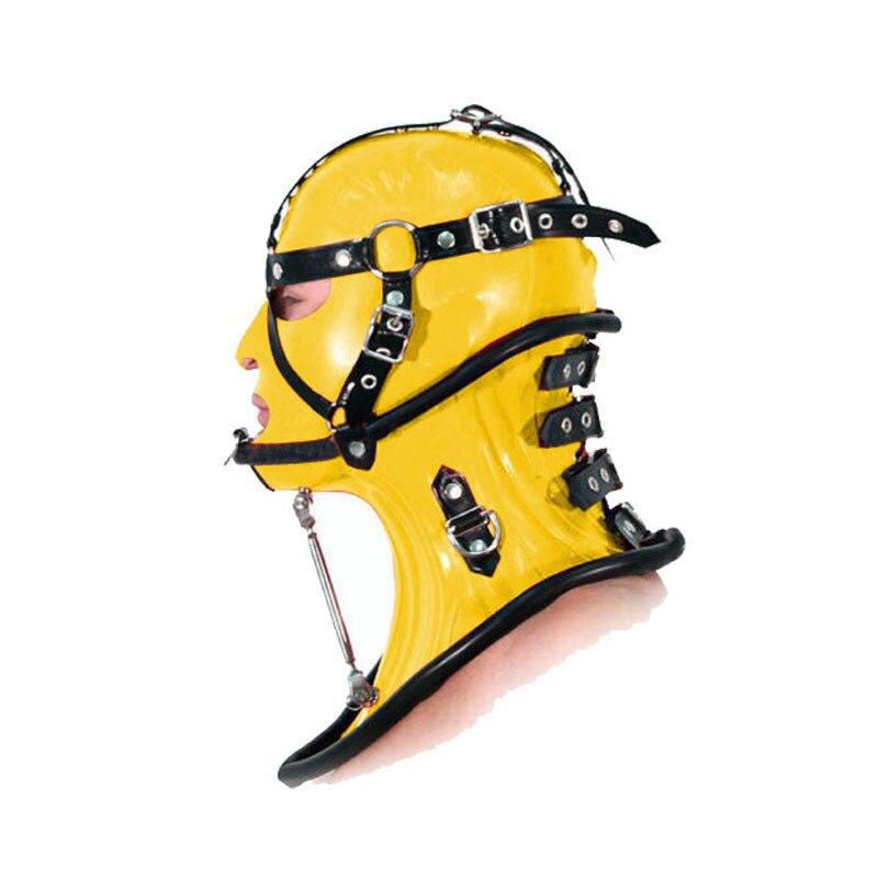 100% Latex naturel Extra haut fixe collier et couvre-chef combinaison noir et jaune taille XXS-XXL
