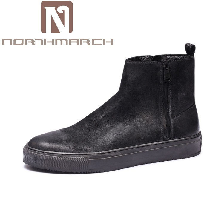 NORTHMARCH New Autumn Winter Comfortable Men Shoes Zipper Closure Leather Boots Fashion Black Ankle Boots For Men Bota Masculina 2017 new all match autumn zipper leather shoes breathable sneaker fashion boots men casual shoes handmade fashion comfortable