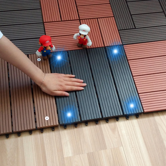 Superieur DIY Flooring Luminous Plastic Wood Flooring Wood Outdoor Patio Balcony With  Outdoor Solar Floor Lamp