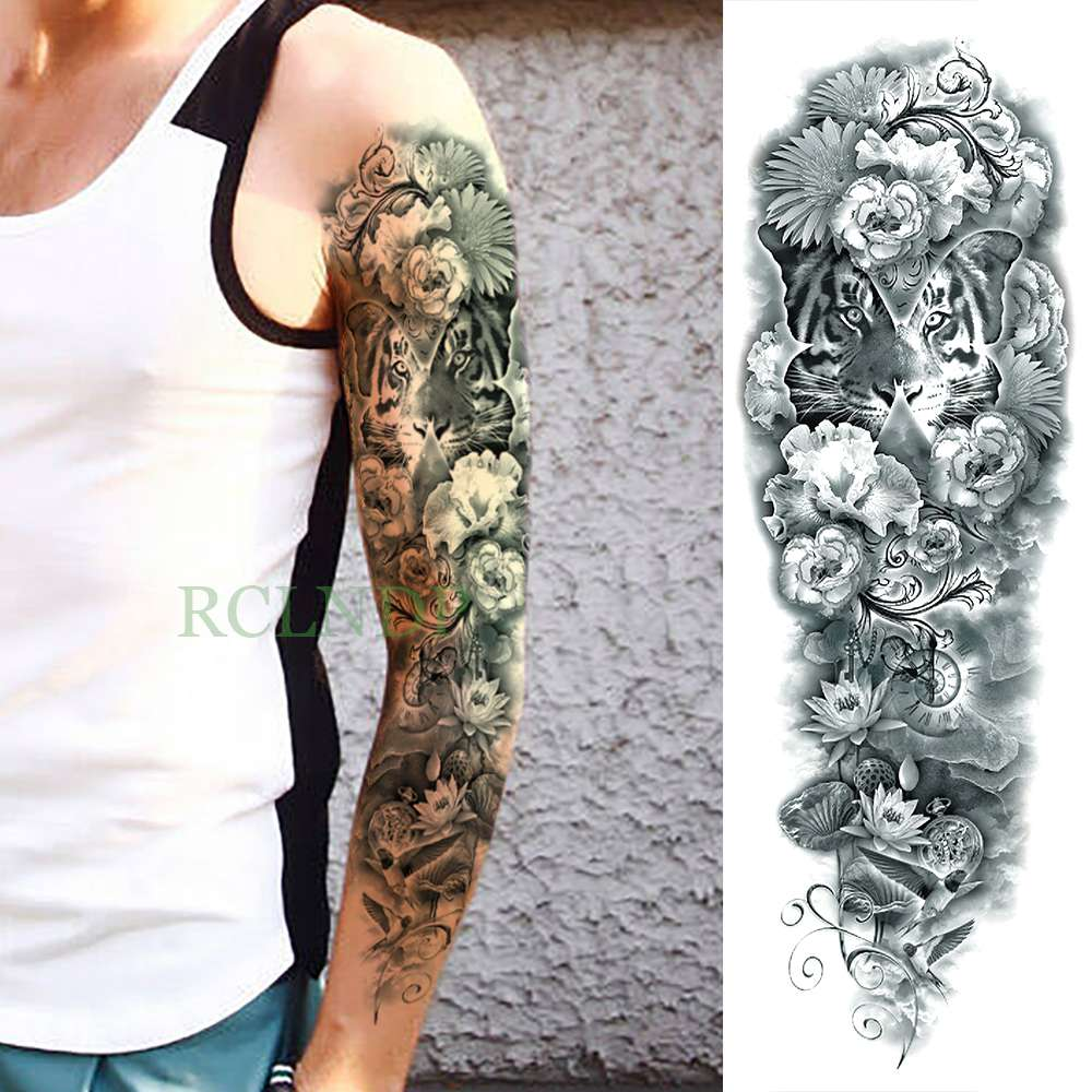 Temporary Tattoos Waterproof Temporary Tattoo Sticker Eye Clock Bird Pagoda Full Arm Large Size Fake Tatto Flash Tatoo Sleeve Tato For Men Women