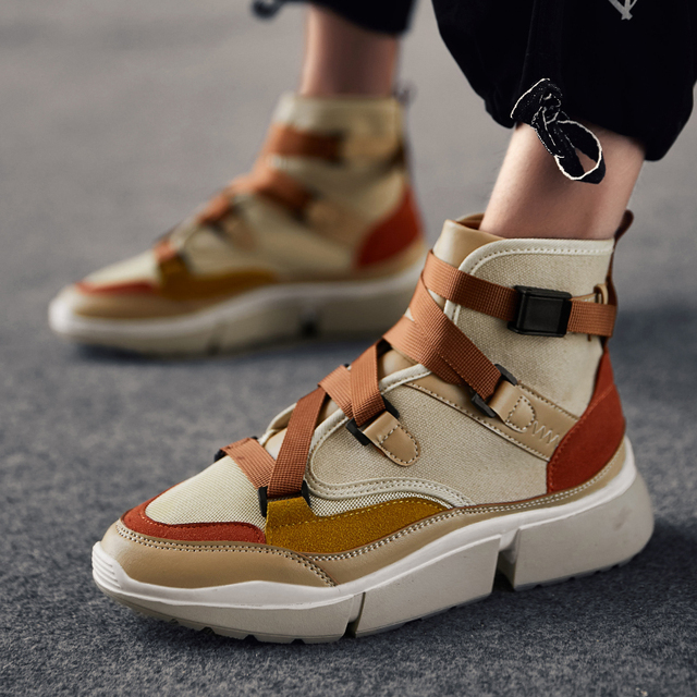 a14bd8244 INS Vintage dad sneakers 2018 kanye west light breathable men casual buckle boots  zapatillas hombre canvas