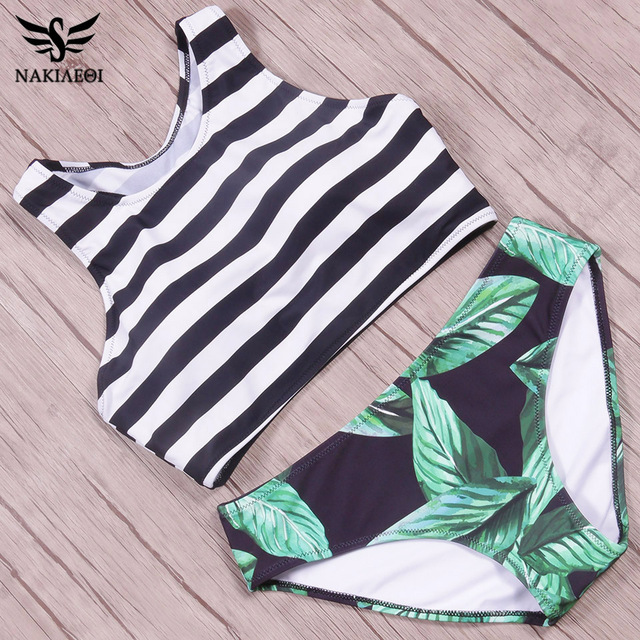 Ladies High Neck Leaf Printed Bikini set