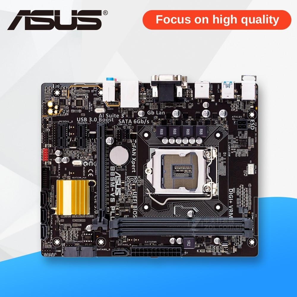 Asus B85M-V5 PLUS Desktop Motherboard B85 Socket LGA 1150 i7 i5 i3 DDR3 16G SATA3 Micro-ATX used for asus b85m v5 plus desktop motherboard b85 socket lga 1150 i7 i5 i3 ddr3 16g sata3 micro atx