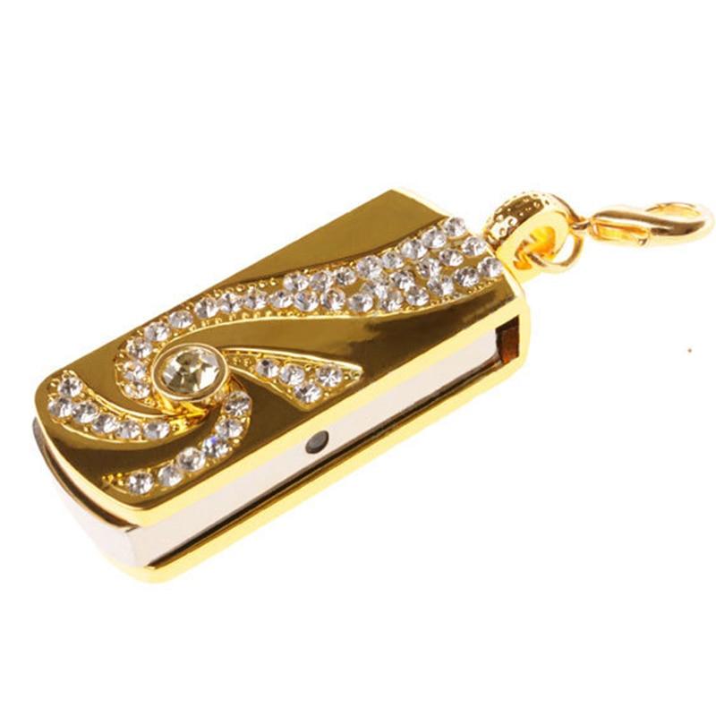 Metal Crystal Gold Stainless Steel Rotary Key Chain Fashion USB Flash Drive 8GB 16GB Pendrive 32GB Pen Drive Memory Stick U Disk