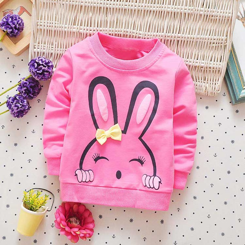 2017 New spring autumn children clothing baby girls infants Cartoon cotton long sleeve Sweet princess T-shirt tops tee S2772