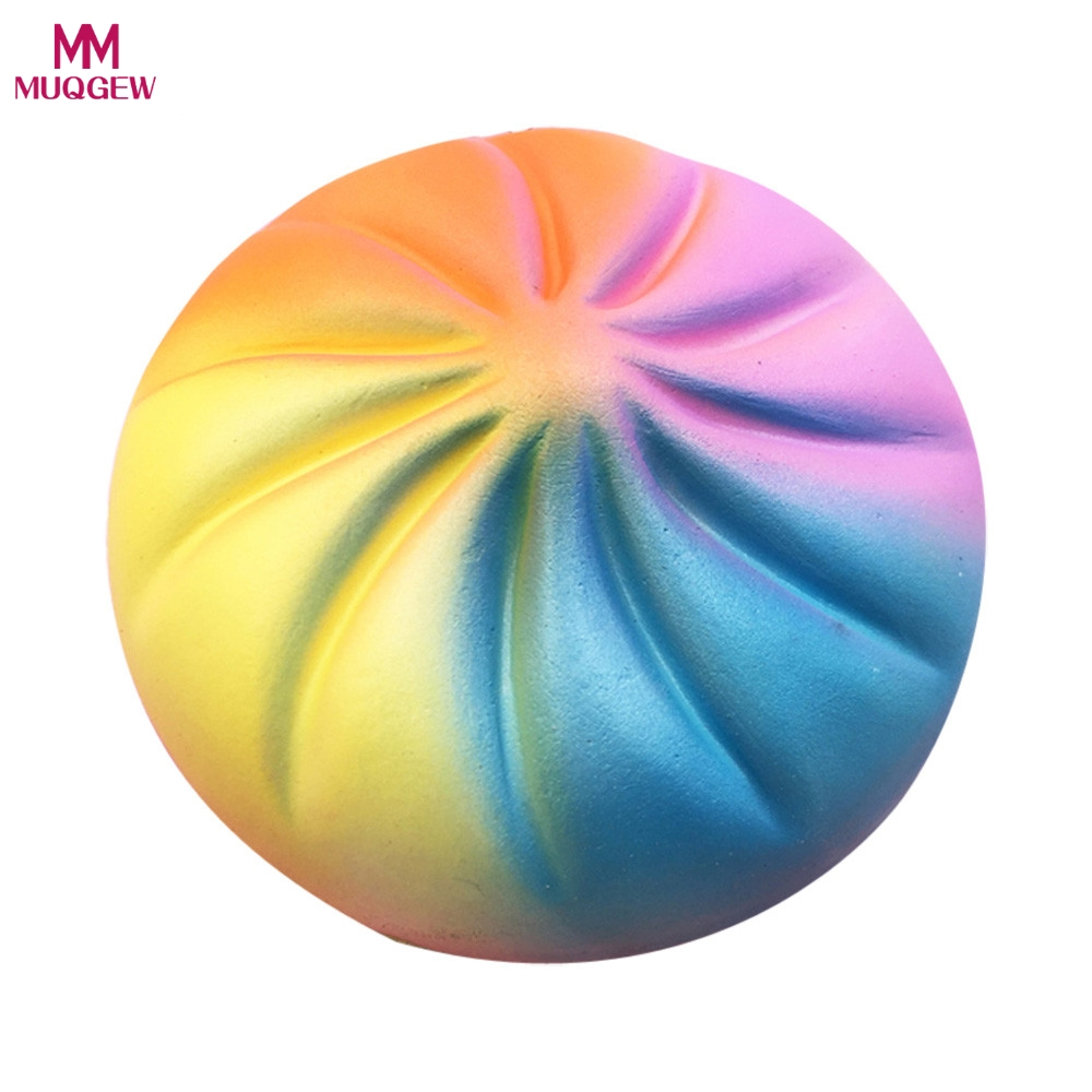 2018 New Brand Jumbo 13CM Kawaii Rainbow rotating bread Squishy Bread Slow Rising Fun Kid font