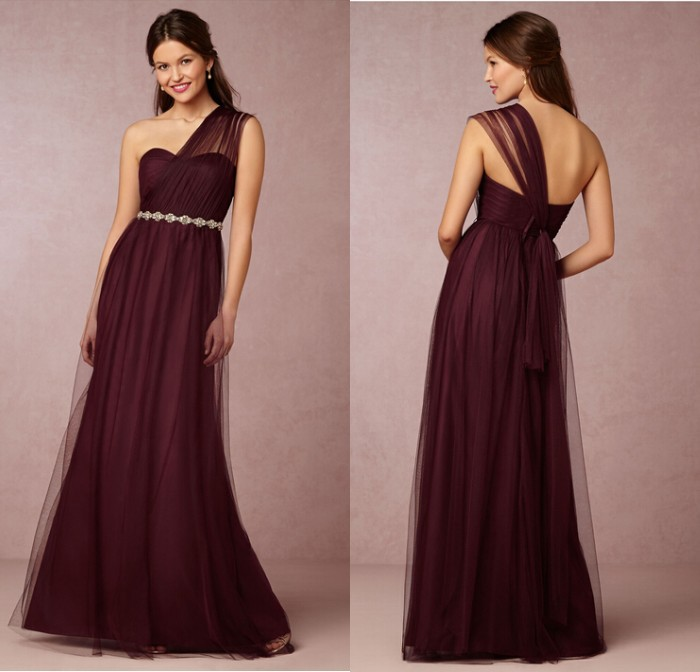 Maroon Wedding Gown: Elegant Appliques Dress One Shoulder Cheap Burgundy