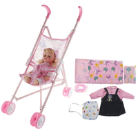 Doll Stroller Pram with Doll and Sleeping Bag Accs Playset, for Aged 3+