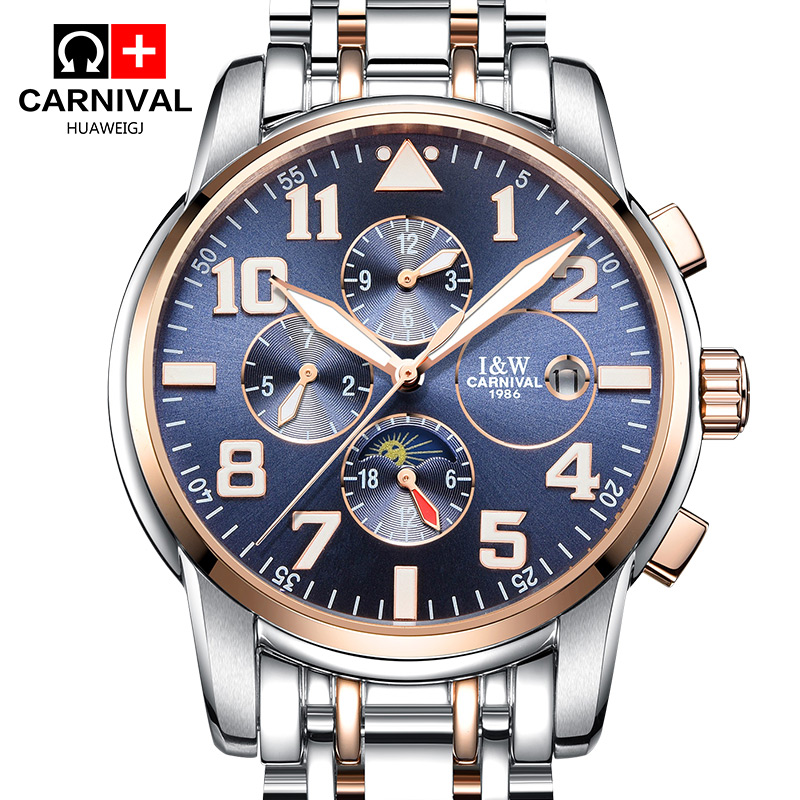 Luxury Mens Automatic Mechanical Watches Carnival Moon Phase Luminous Men Watch Male Stainless Steel Clock Relojes Hombre 2017