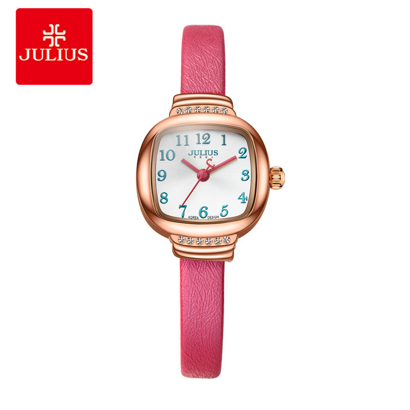 JULIUS Ladies Fashion Casual Dress Leather Strap Red Rose Gold Square Watch Gift For Brand Ultra Thin Women Fashion Watch JA-873 2017 big sale women genuine leather strap wrist watch womens dress fashion casual antique watch original quality julius 638 hour