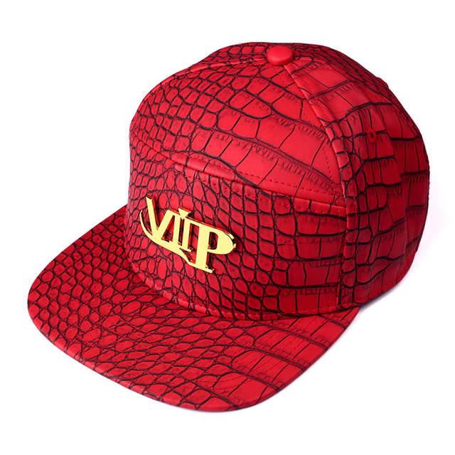 placeholder Men Women Rock PU Leather VIP logo baseball caps Golden  Crocodile Grain DJ Rap hip hop 3887b3568147