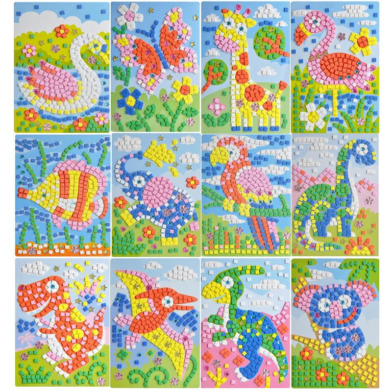 Children Creative Toys Puzzle DIY Foam Mosaic Stickers Art  Cartoon Crystal  Sticker  Educational Toys For Kids Christmas Toy