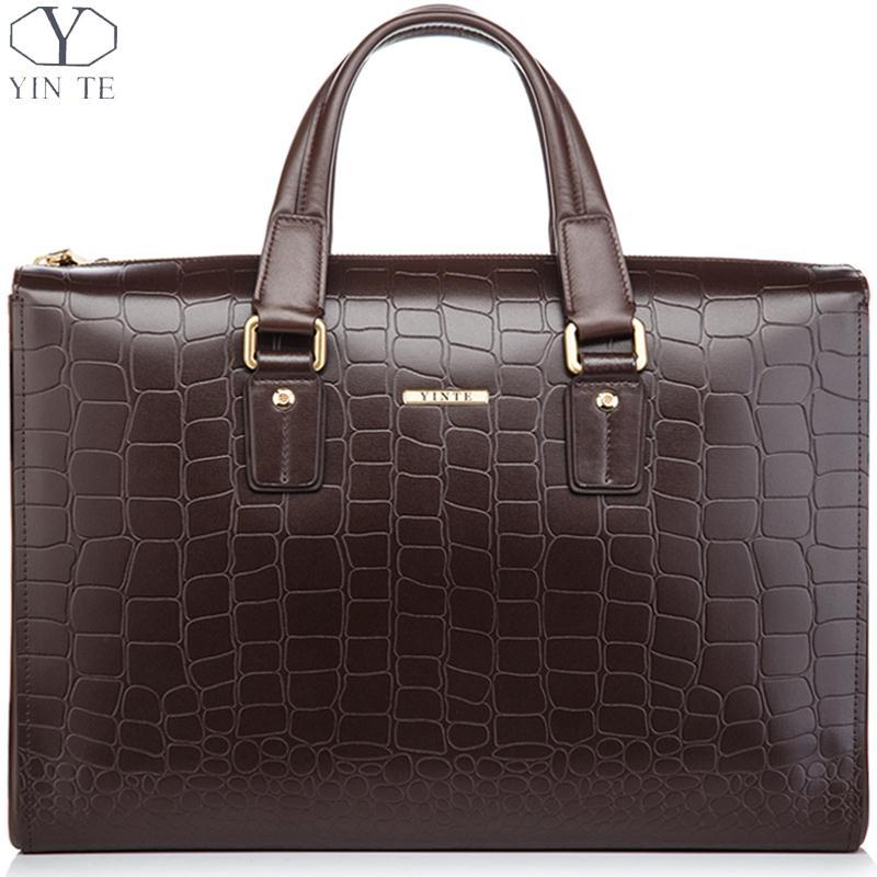 YINTE Leather Men's Briefcase Fashion Brown Handbags Men Totes High Quality Men'