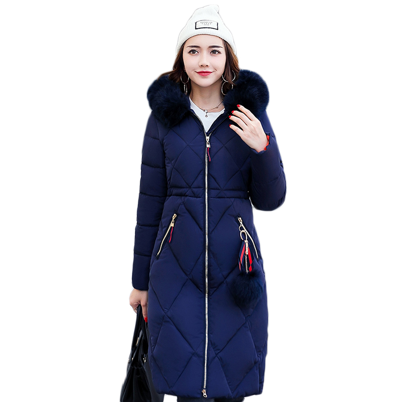 2017 Women Winter Jacket New Fashion Cotton Padded Long Hooded Coat Parkas Female Wadded Outwear Fur Collar Slim Warm Parkas 2017 new winter coat for women slim black solid hooded long warm cotton parkas female thicker zipper red jacket padded