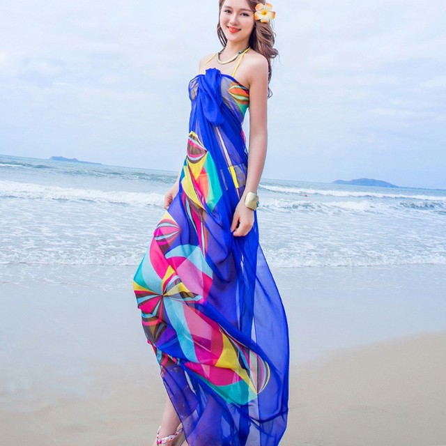 cbb5b8ab16 140x190cm Scarf Summer Women Beach Sarongs Chiffon Scarves Geometrical  Swimsuit Cover Up Dress Wraps