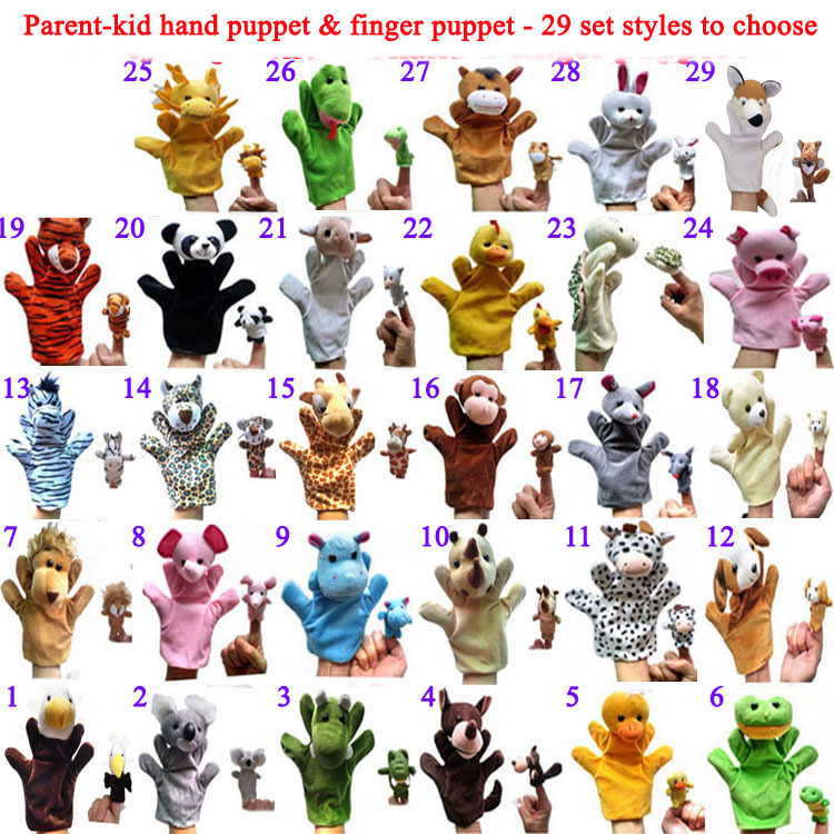 5setslot(=10pcs) Animals Hand Puppets Finger Puppets, 29 parent kid animal styles To Choose, free shipping  t