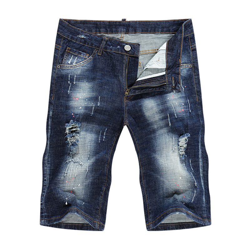 KSTUN Summer Mens Shorts Jeans Man Distressed Painting Frayed Biker Jeans Hollow Out Stretch Blue Denim Pants Short Male Jean 11