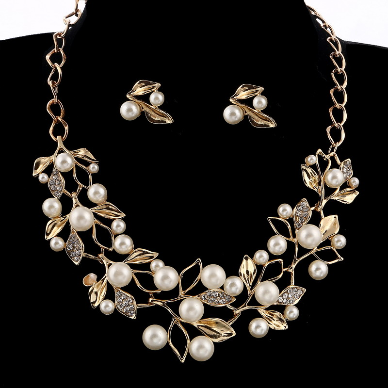 Wedding Bridal Jewelry Sets Gold Color Leaf Simulated Pearl Jewelry Sets Crystal Rhinestone Choker Necklace Earrings
