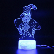 Marvel Legends 3d Table Lamp Illusion Spiderman Remote Control Led Light Avengers Endgame Night Spider Man