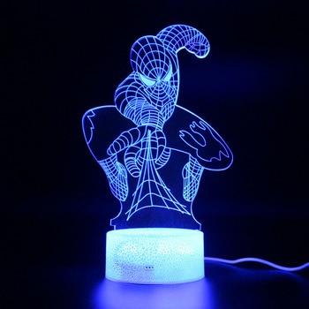 цена на Marvel Legends 3d Table Lamp Illusion Spiderman Remote Control Led Light Avengers Endgame Night Light Spider Man
