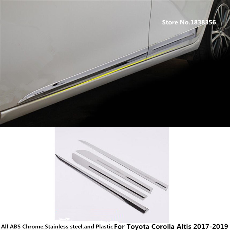 Top Car Styling Cover Stainless Steel Side Door Body Trim Stick Strip Lamp Molding 4pcs For Toyota Corolla Altis 2014 2015 2016 Exterior Accessories