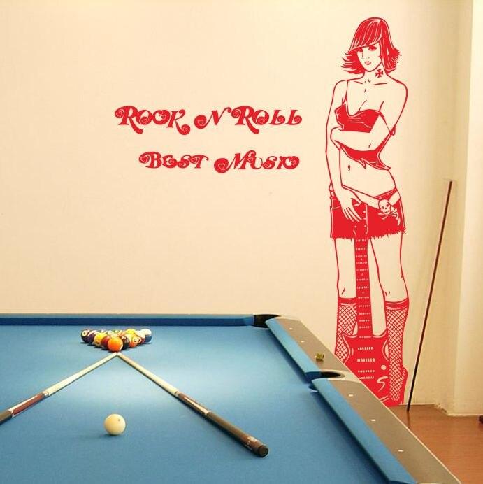 Guitarras chica pegatinas de pared café Internet Cafe bar billar Sala sofá  fondo decorativo pegatinas entrada 92eef4ead0be8