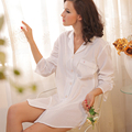 Long Sleeve White Cotton Boyfriend Sleepshirts and Nighties Cotton Nightshirts for Women Button up Sleepwear Shirts