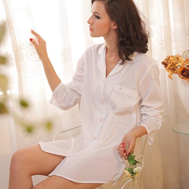 Long Sleeve White Cotton Boyfriend Sleepshirts and Nighties Cotton Nightshirts for Women Button up Sleepwear Shirts
