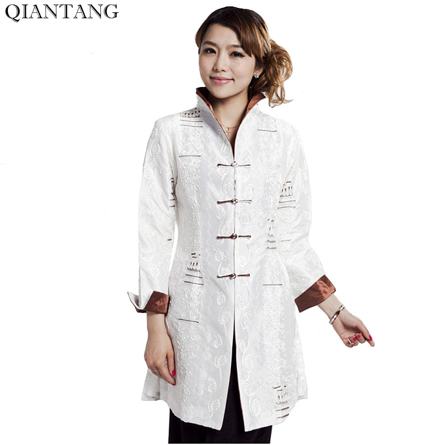 High Quality White Ladies Satin Embroidery Jacket Long Sleeves Coat Plus Size S M L XL