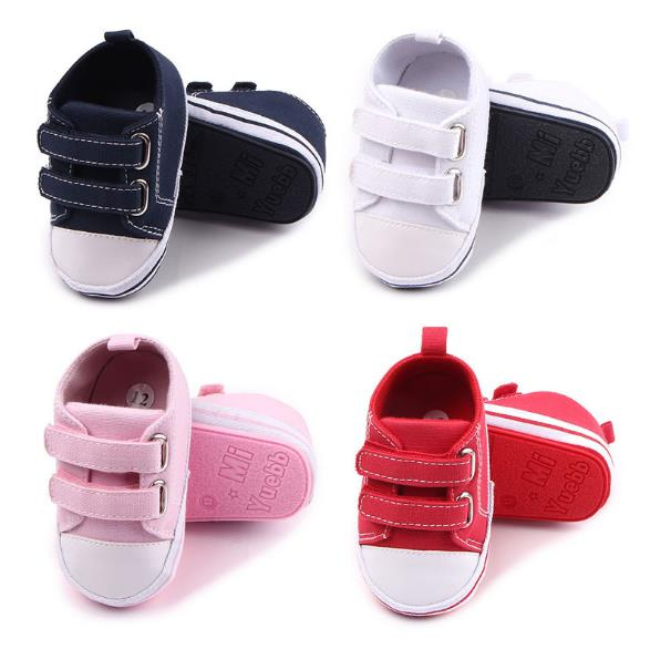 New Brand Classic Baby Canvas Shoes Solid 4 colors First walkers Baby moccasins Rubber sole Bebe Anti-slip Baby shoes