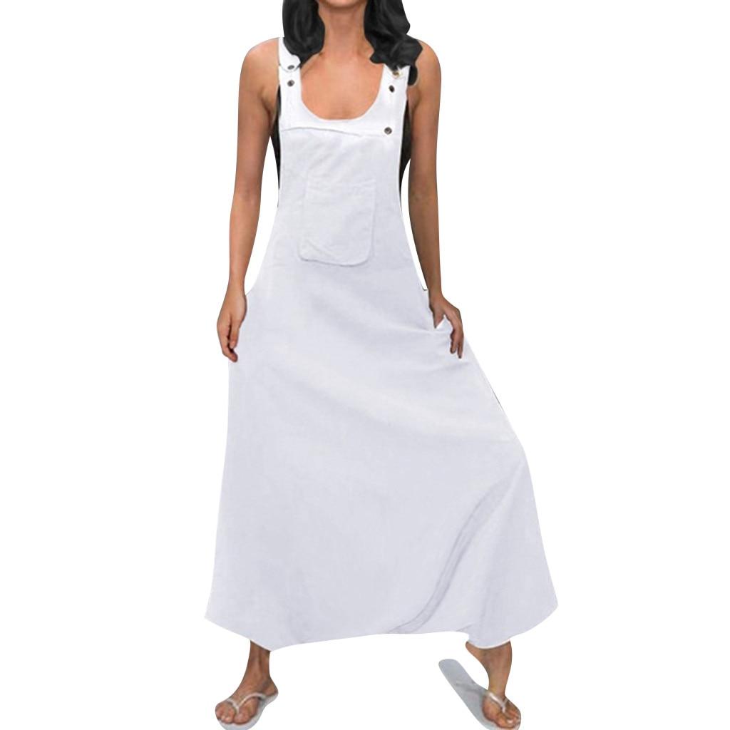 Jaycosin clothes Women Plus Size Jumpsuit U Neck Sleeveless Backless Side Pockets Baggy Long Jumpsuits