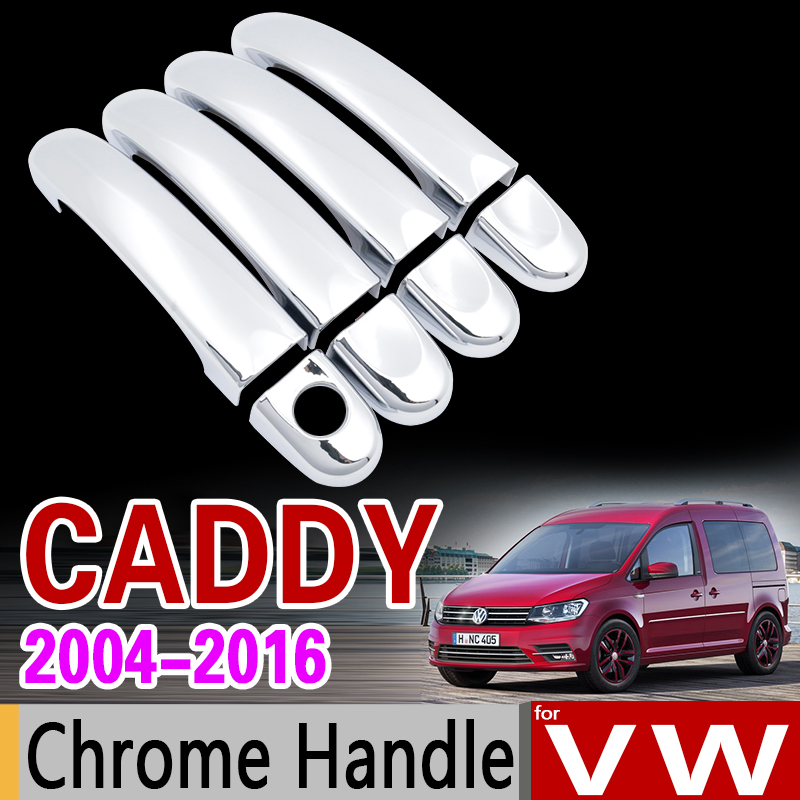 for VW Caddy 2004 - 2016 2K Chrome Handle Cover Trim for Volkswagen 2005 2007 2009 2011 2014 Accessories Stickers Car Styling for suzuki splash 2007 2014 chrome handle cover trim set of 4door 2008 2009 2010 2011 2012 2013 accessories sticker car styling
