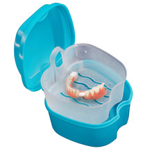 Quality Denture Bath Box Case Dental False Teeth Storage Box with Hanging Net Container Blue Plastic artificial tooth set holder