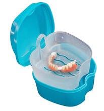 Nova dentadura caixas de banho caso organizador de maquiagem dentes falsos caixa de armazenamento casos recipientes odontológicos com tela filtro aparelho dental