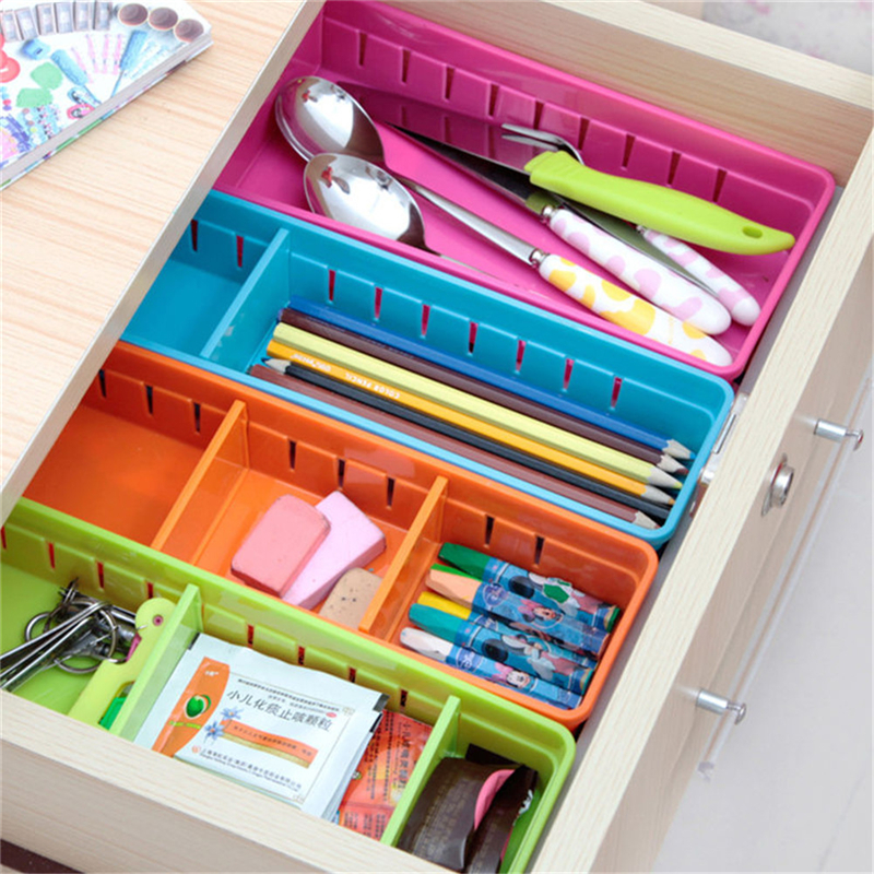 1PC Plastic Desk Organizer Memo Pen Stationery Storage Box Case Desk Drawer Divider Colorful