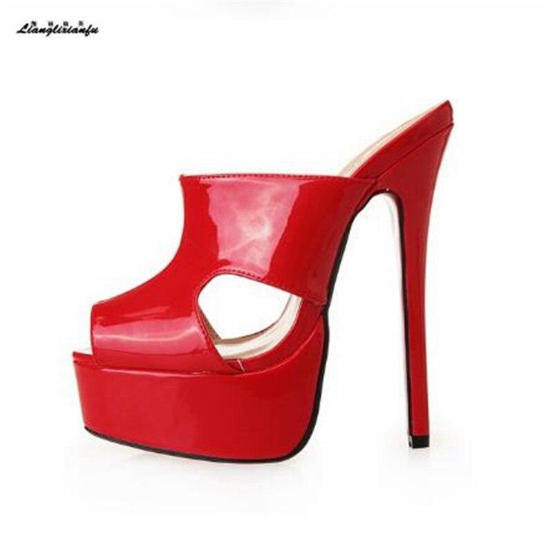 Ultra De Llxf Sexy 17 Haut Us14 Peep 16 Noir rouge Stilettos Sandales Cosplay Talons Toe Été 15 Chaussures Pompes Diapositives Cm multi Mariage Pantoufle Femmes p6z6fw